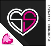 icon logo heart shape with... | Shutterstock .eps vector #691396579