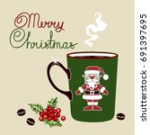 Green Xmas Coffee Cup W. Brown...