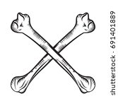 crossed bones   hand drawn... | Shutterstock .eps vector #691401889