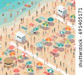 crowded colorful beach with... | Shutterstock .eps vector #691405171
