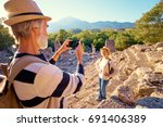 travel and tourism. senior... | Shutterstock . vector #691406389