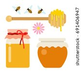 honey set of two cans of honey  ... | Shutterstock .eps vector #691406947