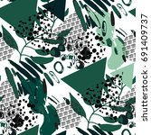 trendy seamless pattern with... | Shutterstock .eps vector #691409737