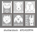 happy new year 2018. set of... | Shutterstock .eps vector #691410994