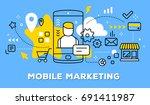 vector illustration of mobile... | Shutterstock .eps vector #691411987