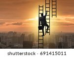 businessman climbing career... | Shutterstock . vector #691415011