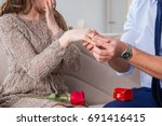 romantic concept with man... | Shutterstock . vector #691416415