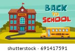 back to school. children on the ...   Shutterstock .eps vector #691417591