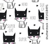 Super Cat. Cartoon Print....