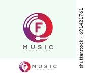 music initial letter f logo... | Shutterstock .eps vector #691421761
