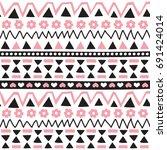 seamless aztec pattern vector... | Shutterstock .eps vector #691424014