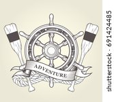 vintage steering wheel and oars ... | Shutterstock .eps vector #691424485