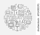 literature round illustration.... | Shutterstock .eps vector #691430191