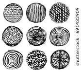 set of textural circles. set of ... | Shutterstock .eps vector #691432909