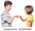 friendship teen boy and girl...   Shutterstock . vector #691434409
