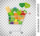 supermarket shopping cart with... | Shutterstock .eps vector #691435315
