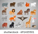 zoo animals flat colorful icons ... | Shutterstock .eps vector #691435501