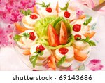 eggs stuffed with tuna spread and mayonnaise on easter table - stock photo