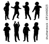 set of silhouettes of a little... | Shutterstock .eps vector #691440025