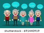 old people meeting and talking... | Shutterstock .eps vector #691440919