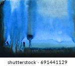 hand painted watercolor... | Shutterstock . vector #691441129