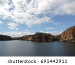 view of canyon on lake | Shutterstock . vector #691442911