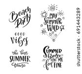 set of summer hand drawn brush... | Shutterstock .eps vector #691443289