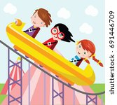 children playing roller coaster ... | Shutterstock .eps vector #691446709