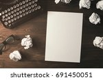 high angle view of blank paper... | Shutterstock . vector #691450051