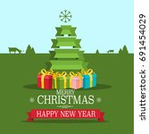 christmas greeting card. vector ... | Shutterstock .eps vector #691454029
