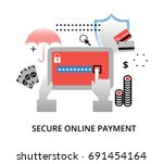 Modern flat design vector illustration, secure online payment concept, for graphic and web design - stock vector