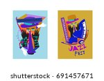 colorful international jazz... | Shutterstock .eps vector #691457671
