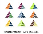 colorful triangle geometric... | Shutterstock .eps vector #691458631