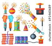 fireworks vector set... | Shutterstock .eps vector #691460689