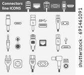 computer interface ports vector ... | Shutterstock .eps vector #691461091