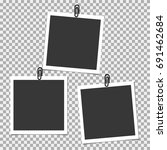 photo frame with clip on grey... | Shutterstock .eps vector #691462684