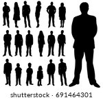 isolated silhouettes set of... | Shutterstock .eps vector #691464301