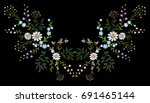 embroidery trend floral pattern ... | Shutterstock .eps vector #691465144