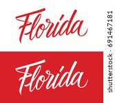 handwritten u.s. state name... | Shutterstock .eps vector #691467181