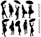 set silhouettes of a woman ... | Shutterstock .eps vector #691471279