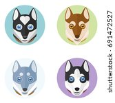 cute dog heads. vector hand... | Shutterstock .eps vector #691472527