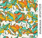 tropical seamless pattern with... | Shutterstock .eps vector #691475155