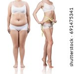 woman's body before and after... | Shutterstock . vector #691475341