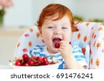 cute redhead infant baby... | Shutterstock . vector #691476241