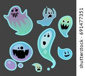 cartoon spooky ghost character... | Shutterstock .eps vector #691477351