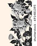 chrysanthemum vector on brown... | Shutterstock .eps vector #691481395