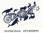 evolution tattoo. dna concept.... | Shutterstock .eps vector #691483894