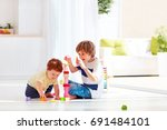 elder brother playing with... | Shutterstock . vector #691484101