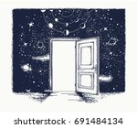 open door tattoo. symbol of... | Shutterstock .eps vector #691484134