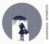 girl in rain tattoo. symbol of... | Shutterstock .eps vector #691484191